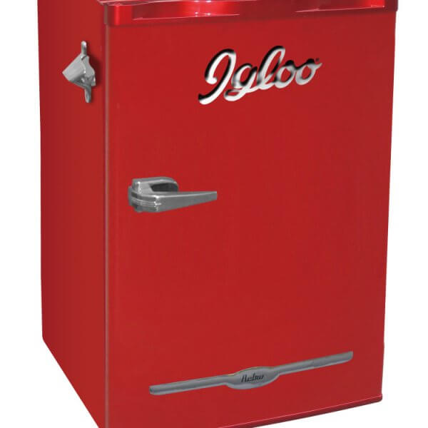 3 2 cu ft retro bar fridge with side bottle opener igloo. Black Bedroom Furniture Sets. Home Design Ideas